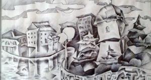 Тернопільська художниця зобразила Тернопіль у сюрреалістичному стилі
